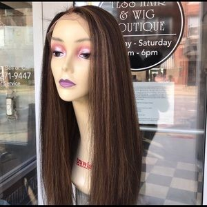 Accessories - Full lace Brown Highlights human hair Blende 2019